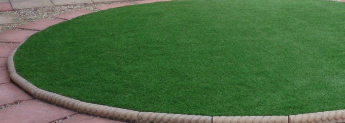 Artificial Grass Lawn round shape - landscaping services Dorset