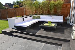 Composite decking best garden decking by artificial style for Garden decking with artificial grass