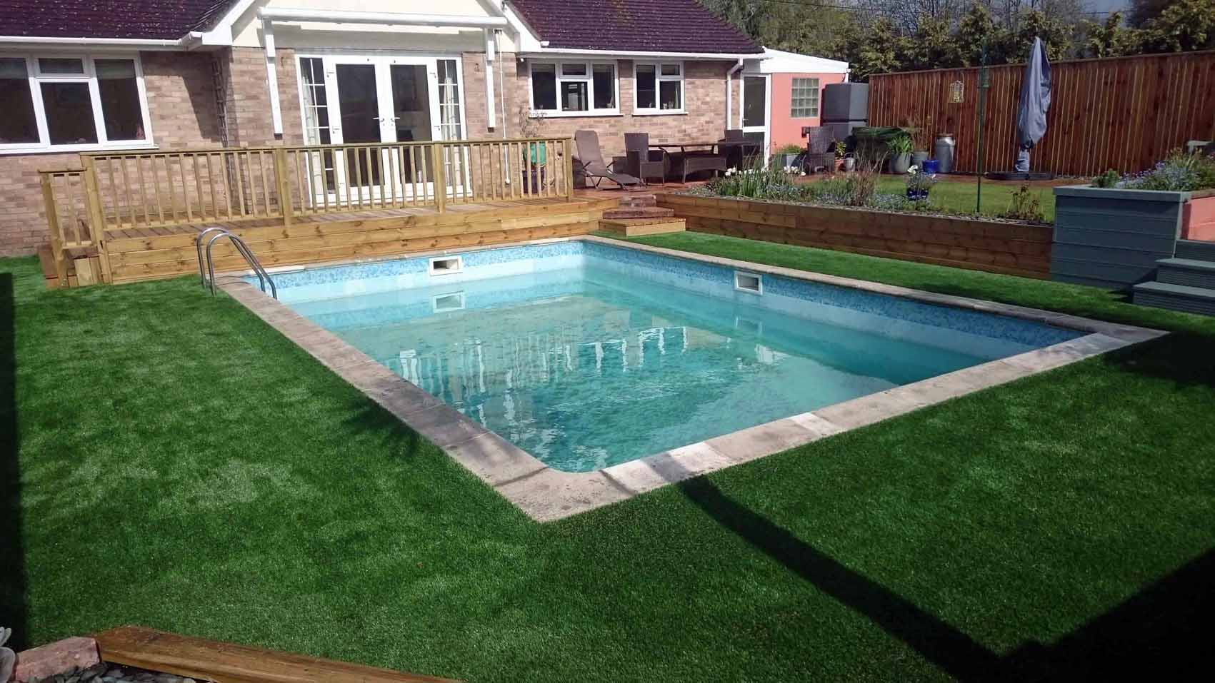 Artificial grass for indoor above ground outdoor for Swimming pool surrounds design